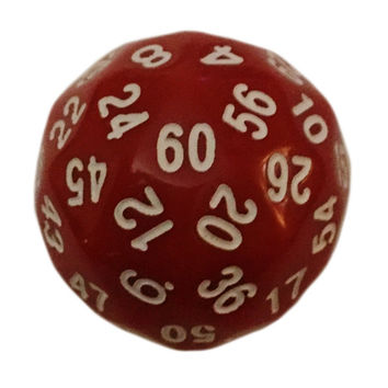 60 Sided Polyhedral Dice (D60)- 36mm - Solid Red Color- (1 each)