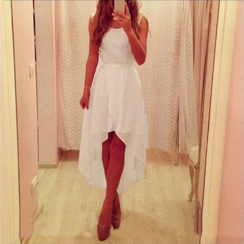 Summer New Sleeveless White Irregular Hem Long Chiffon Dresses Cocktail Party Slim Dresses White [7981324679]
