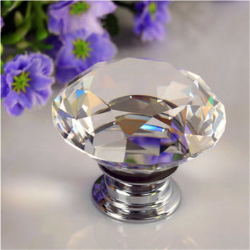 1pcs 30mm Diamond Crystal Glass Alloy Door Drawer Cabinet Wardrobe Pull Handle Knobs Drop Worldwide Store Beautiful