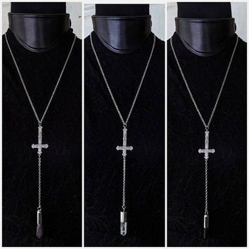 Inverted Cross - Crystal - Lariat - Necklace - Goth - Gothic - Quartz - Jewelry - Black Metal - Witchy - Amethyst - Quartz - Occult