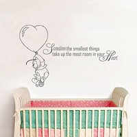 Wall Decals Quotes Winnie the Pooh Quote - Sometimes the smallest things - Moon Stars Kids Boys Girls Nursery Baby Room Wall Vinyl Decal Stickers Bedroom Murals