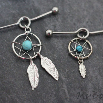 Dreamcatcher Industrial Barbell Earring, Silver Industrial Piercing Jewelry, Dream Catcher Scaffold Earring, Leaf, Leaves, Turquoise