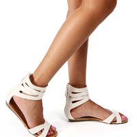 White Ankle Cuff Sandals
