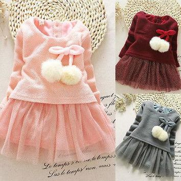 2017 New Formal Children Toddler Baby Girls Long Sleeve Knitted Bow Newborn Tutu Princess Dress 0-24M