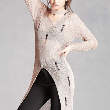 Distressed Lurex Knit Tunic