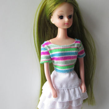 Takara Jenny Doll Lookalike Toy Vintage Rerooted Long Olive Green Hair