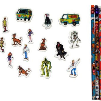 Scooby-Doo 26 Piece Eraser and Pencil Set School Supplies Bundle Perfect for Play, School, and Homework Fun