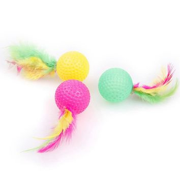 Pet Toy Latex Balls Colorful Chew For Dogs Cats Puppy Kitten Soft Feather Foam Ball