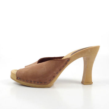 a5585aa101e Candies Heels Sandals Vintage 1980s Brown Leather High Shoes Wom