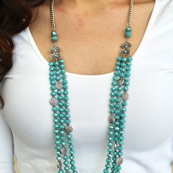 Long Three Row Crystal Bead Necklace