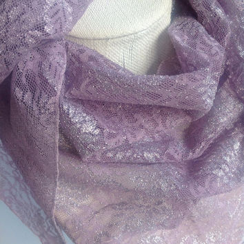 Lavender lace scarf, cowl shawl, purple shimmer fabric, boho scarf, triangle fashion scarf  Christmas Gift, Winter neck scarf Gift ideas