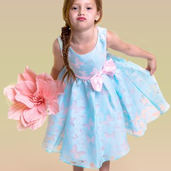 Blue & Pink Contrasting Color Butterfly Organza Burnout Girls Dress 2T-14