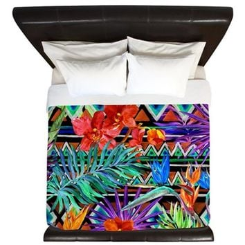 BOHO TROPICAL FLORAL KING DUVET