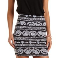Black & White Paisley Print Bodycon Mini Skirt