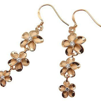 SILVER 925 PINK ROSE GOLD PLATED HAWAIIAN PLUMERIA FLOWER EARRINGS WIRE HOOK