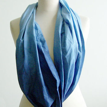 Ombre Infinity Scarf, Blue Gradient Cotton Scarf, Hand Dyed Cotton Scarf