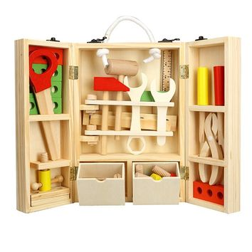 LeadingStar Kids Wooden Tool Box Set Construction Toys Wooden Toys for Children Pretend Play Kids Tool Toy Set
