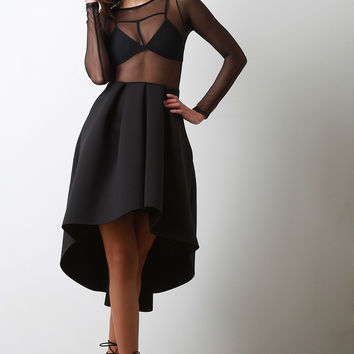 Sheer Mesh Top High-Low Midi Dress