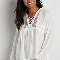 lightweight peasant top with mesh yoke | maurices