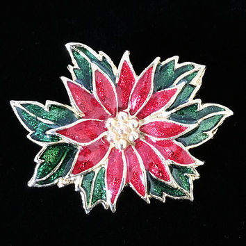 Signed SFJ Christmas Poinsettia Flower Brooch Enamel and Gold Tone Holiday Pin Winter Floral Jewelry