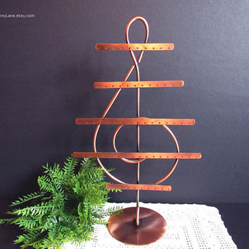 Copper Pierced Earring Holder, Treble Clef, Music Note, Metal Earring Tree, Jewelry Display