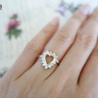 Heart Shaped .4 carat Promise Ring, Engagement Ring, Wedding, Mother's Day, Man Made Diamonds, Promise, Bridal, Sterling Silver, 14k Gold