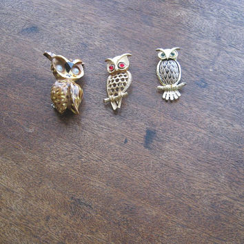 Moving-Eye Spotted Owl Brooch; White/Goldtone Owl Charm; Faux Ruby/Red-Eye Owl Pin - Vintage Owl Charm - Wildlife Wreath Supply; Owl Project