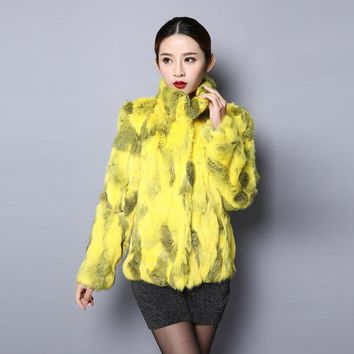 Fur Story 151249 New Arrival 2017 Women's Natural Rabbit Fur Coat Winter Real Fur Jacket Color Optional