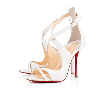 $945 CHRISTIAN LOUBOUTIN MALEFISSIMA 100 WHITE LEATHER SANDALS HEELS SIZE 40