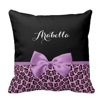 Girly Purple Jaguar Print Cute Bow With Name Throw Pillows