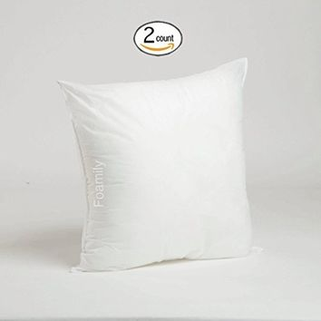 Foamily 18 x 18 Premium Hypoallergenic Stuffer Pillow Insert Sham Square Form Polyester, Standard / White - MADE IN USA