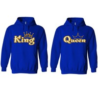 Gold King and Queen Royal Blue Hoodie