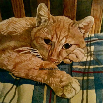 Ginger Cat Watercolor Print. Cat painting. Watercolor animal. Cat wall art. Cat picture. Watercolor portrait. Pet portrait. Cat artwork.