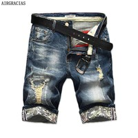 Mens Ripped Short Jeans