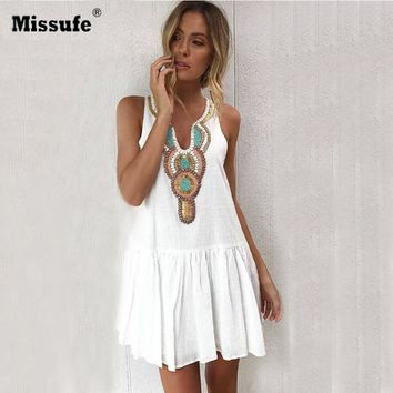 Applique Vintage Summer Dress Women Casual V Neck Streetwear Back Button Tunic Pleated Womens Beach Dresses