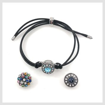 Snap Charm Black Leather Bracelet for One 12mm Mini Button Includes 3 Snaps Shown - Adjustable
