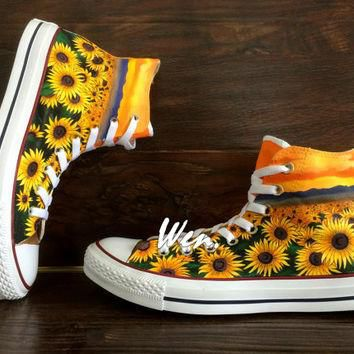 WEN Original Design Sunflower Shoes Floral Converse Floral Shoes Painted Shoes,Sunflow