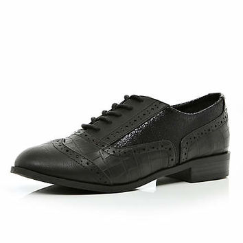 Black contrast panel lace up brogues