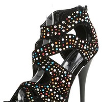 Alba Lisa Black Cutout Strappy Rhinestone High Heels and Shop Shoes at MakeMeChic.com