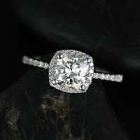 Barra Petite Size 14kt White Gold Thin FB Moissanite Cushion Halo Engagement Ring (Other metals and stone options available)
