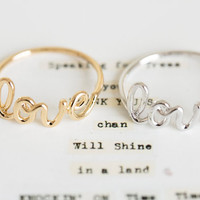love letter rings/love rings/womens by LETTERSEARRING on Etsy