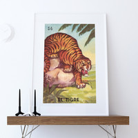 Loteria El Tigre Mexican Retro Illustration Art Print Vintage Giclee on Cotton Canvas or Paper Canvas Poster Wall Decor
