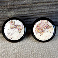 Vintage world map stud earrings, Globe Jewelry, Map jewelry, World map earrings, Whole Wide World, Antique World Map, Christmas gift