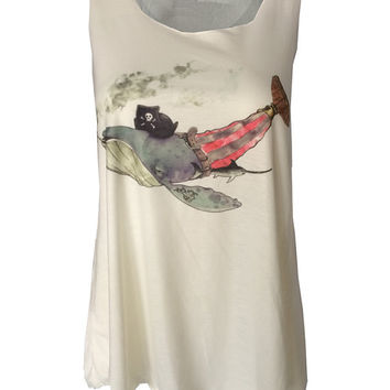 Pirate whale captain print Tank top vest urban womens ladies tshirt smoking sword fish