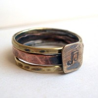 Music Lover's Stacking Brass and Copper Rings by torchandhammer