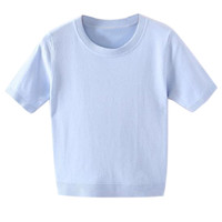 Light Blue Short Sleeve Cropped Sweater