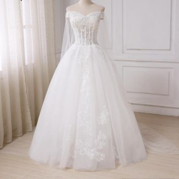 Romantic Off the Shoulder Wedding Dress See Through Applique Sparkling Beads Bridal Gowns with Long Train