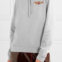 GANNI - Lott Isoli embroidered cotton-jersey hooded top