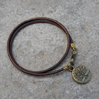 Wisdom - Dark Brown Leather Wrap Bracelet Tree Of Life Charm