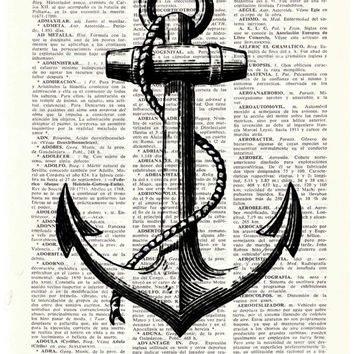 Vintage anchor illustration, Dictionary art- Nautical art, Black anchor Print- wall art, Seashore house decor, Marine anchor print, gift him